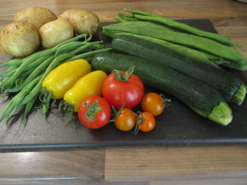 Vegetables from my allotment including Banana leg tomatoes - Jane Nash